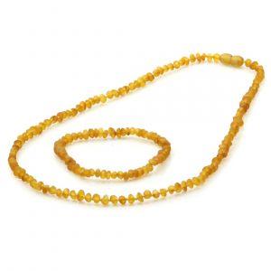 Adult Semi Polished Baltic Amber Necklace & Bracelet Set. Baroque Light Cognac 4x3 mm