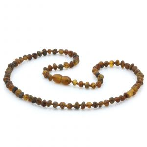 Adult Raw Baltic Amber Necklace. Baroque Black Mix Rough 5x4 mm