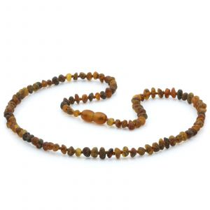 Adult Raw Baltic Amber Necklace. Baroque Black Mix Rough 4x3 mm