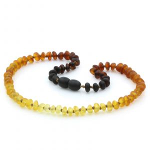 Semi Polished Baltic Amber Teething Necklace. Round Flat Rainbow II Matte 5x3 mm