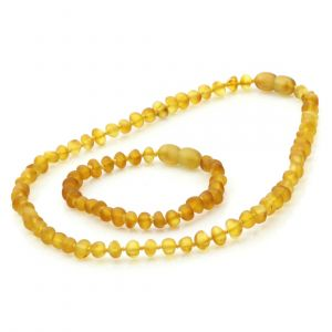 Semi Polished Baltic Amber Teething Necklace & Bracelet Set. Baroque Light Cognac Matte 5x4 mm
