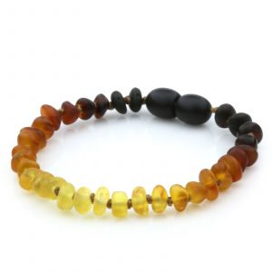 Semi Polished Baltic Amber Teething Bracelet. Round Flat Rainbow II Matte 5x3 mm