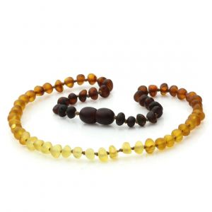 Semi Polished Baltic Amber Teething Necklace. Baroque Rainbow II Matte 5x4 mm