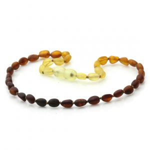 Semi Polished Baltic Amber Teething Necklace. Olive Rainbow I Matte 5x4 mm