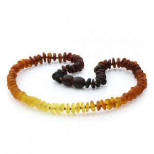 Semi Polished Baltic Amber Teething Necklace. Round Flat Rainbow II Matte 5x2 mm