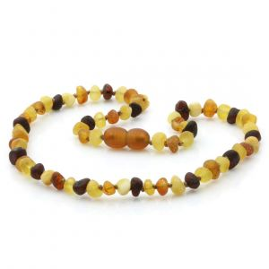 Raw Baltic Amber Teething Necklace. Baroque Multicolor Rough 5x4 mm