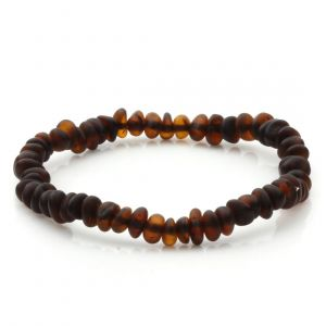 Adult Semi Polished Baltic Amber Bracelet. Round Flat Dark Cognac Matte 5x3 mm
