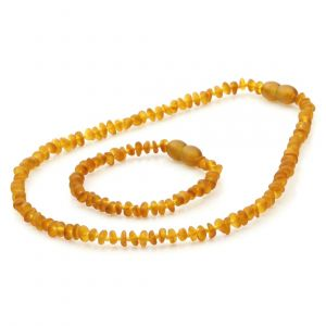 Semi Polished Baltic Amber Teething Necklace & Bracelet Set. Round Flat Light Cognac Matte 4x2 mm