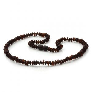 Adult Semi Polished Baltic Amber Necklace. Round Flat Dark Cognac Matte 5x2 mm