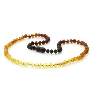 Adult Semi Polished Baltic Amber Necklace. Baroque Rainbow II Matte 5x4 mm