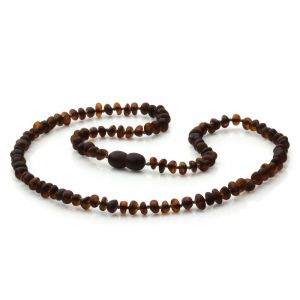 Adult Semi Polished Baltic Amber Necklace. Round Flat Dark Cognac Matte 5x3 mm