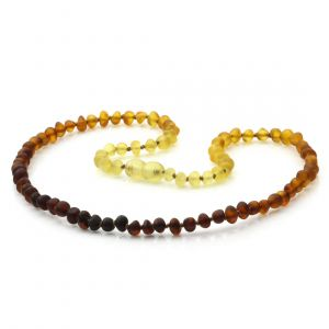 Adult Semi Polished Baltic Amber Necklace. Baroque Rainbow I Matte 5x4 mm
