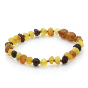Raw Baltic Amber Teething Bracelet. Baroque Multicolor Rough 5x4 mm