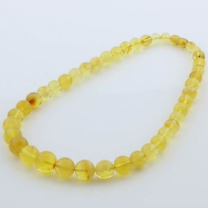 Natural Baltic Amber Necklace Round Beads up to 15mm 47cm 34gr. FBR27