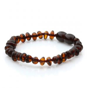 Baltic Amber Teething Bracelet. Round Flat Dark Cognac 5x3 mm