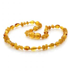 Natural Baltic Amber Teething Necklace. Baroque LE79