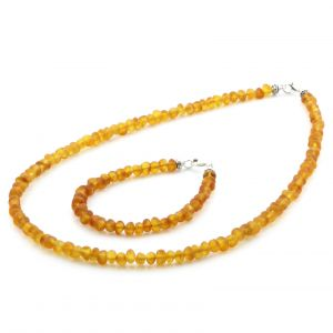 Adult Baltic Amber & 925 Sterling Silver Clasp Necklace & Bracelet Set. Ba Light Cognac Matte s.