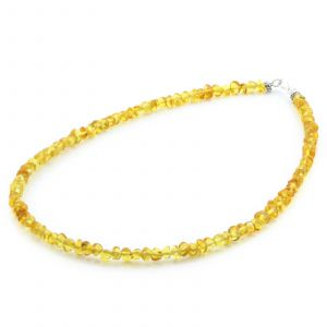 Adult Baltic Amber & 925 Sterling Silver Clasp Necklace 45cm. Ba Yellow s.