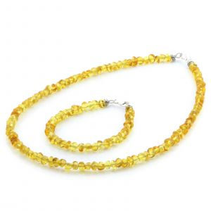 Adult Baltic Amber & 925 Sterling Silver Clasp Necklace & Bracelet Set. Ba Yellow s.