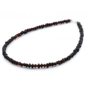 Adult Baltic Amber & 925 Sterling Silver Clasp Necklace 45cm. Ba Dark Cognac s.