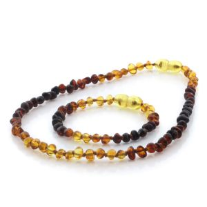 Natural Baltic Amber Teething Necklace & Bracelet Set. Baroque LE95