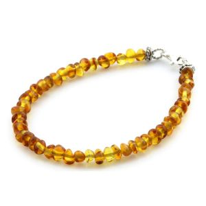 Adult Baltic Amber & 925 Sterling Silver Clasp Bracelet 18cm. Ba Milky Yellow 4mm