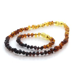 Natural Baltic Amber Teething Necklace & Bracelet Set. Baroque LE97