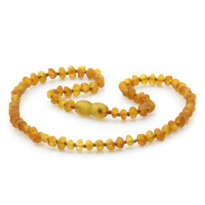 Raw Baltic Amber Teething Necklace. Baroque Light Cognac Rough 4x3 mm