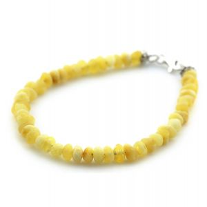 Adult Baltic Amber & 925 Sterling Silver Clasp Bracelet 18cm. Ba Milky Yellow Rough 4mm