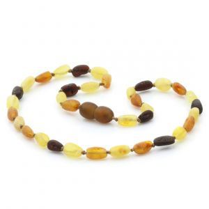 Raw Baltic Amber Teething Necklace. Olive Multicolor Rough 5x4 mm