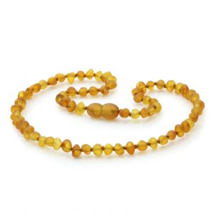 Raw Baltic Amber Teething Necklace. Baroque Light Cognac Rough 4x4 mm
