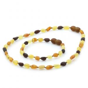 Raw Baltic Amber Teething Necklace & Bracelet Set. Olive Multicolor Rough 5x4mm