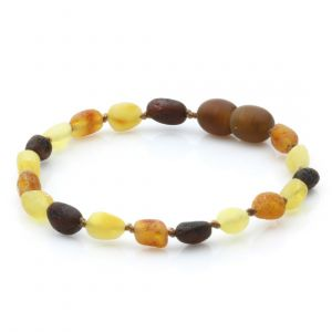 Raw Baltic Amber Teething Bracelet. Olive Multicolor Rough 5x4 mm