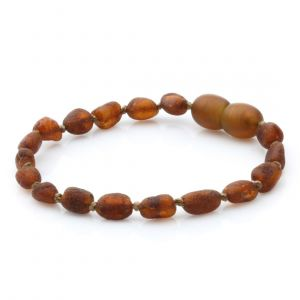 Raw Baltic Amber Teething Bracelet. Olive Cognac Rough 5x4 mm