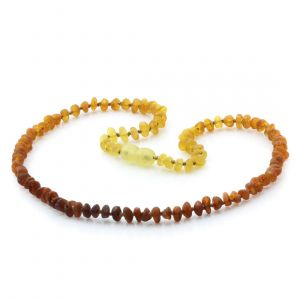 Adult Raw Baltic Amber Necklace. Round Flat Rainbow I Rough 5x3 mm