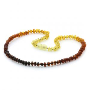Adult Semi Polished Baltic Amber Necklace. Round Flat Rainbow I Matte 5x3 mm