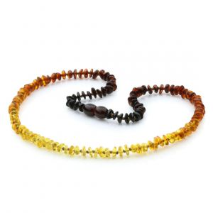 Adult Baltic Amber Necklace. Round Flat Rainbow II 5x2 mm