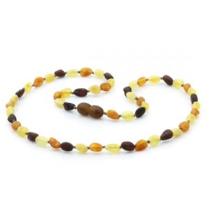 Adult Raw Baltic Amber Necklace. Olive Multicolor Rough 5x4 mm