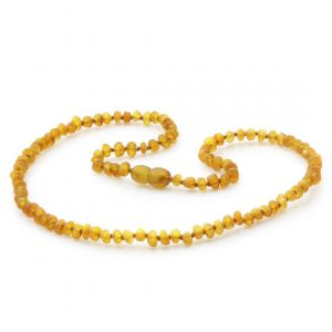 Adult Raw Baltic Amber Necklace. Baroque Light Cognac Rough 4x3 mm