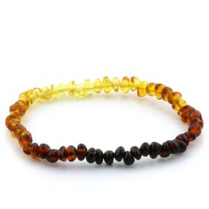Adult Baltic Amber Bracelet. Baroque Rainbow I 4x3 mm