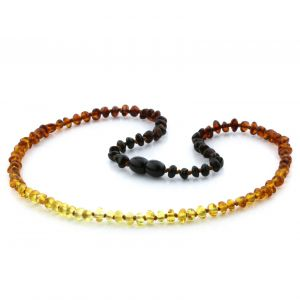 Adult Baltic Amber Necklace. Baroque Rainbow II 4x3 mm