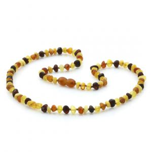 Adult Raw Baltic Amber Necklace. Baroque Multicolor Rough 5x4 mm