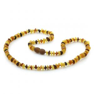 Adult Semi Polished Baltic Amber Necklace. Round Flat Multicolor Matte 5x2 mm