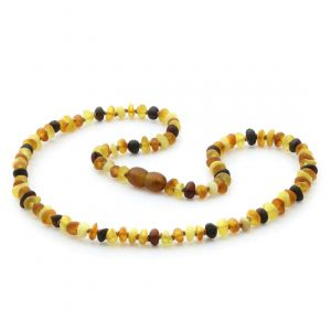 Adult Semi Polished Baltic Amber Necklace. Round Flat Multicolor Matte 5x3 mm