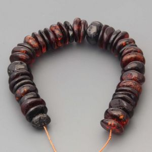"Natural Baltic Amber Loose Beads Strings Set of 1 Pc. 20cm / 7.87"" - Tablet. ST265"