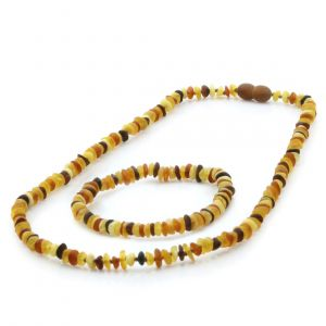 Adult Semi Polished Baltic Amber Necklace & Bracelet Set. Round Flat Multicolor Matte 5x2 mm