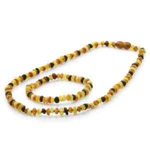 Adult Semi Polished Baltic Amber Necklace & Bracelet Set. Round Flat Multicolor 5x3 mm