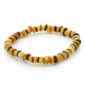 Adult Semi Polished Baltic Amber Bracelet. Round Flat Multicolor Matte 5x2 mm