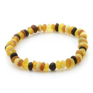 Adult Semi Polished Baltic Amber Bracelet. Round Flat Multicolor Matte 5x3 mm