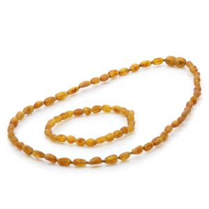 Adult Raw Baltic Amber Necklace & Bracelet Set. Olive Light Cognac Rough 5x4 mm